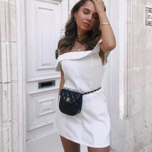 Lioness white off the shoulder button mini dress